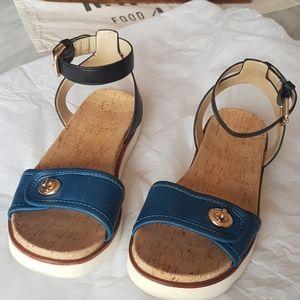 Coach Blue Monotone Leather Sandals